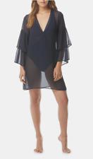 MICHAEL Michael Kors Ruffle Sleeves Sheer Cover Up Dress Navy Blue Medium NWT