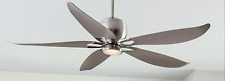 "Outdoor/Indoor Brushed Steel 56"" LED Ceiling Fan + Remote Modern Tropical Patio"
