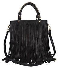 Women Faux Leather Punk Tassel Fringe Handbag Tote Purse Black Shoulder Bag