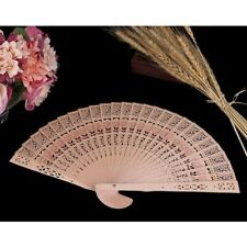 Chinese Vintage Wooden Bamboo Folding Flower Hand Fan Wedding Party Summer Favor
