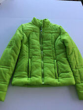 Juniors Bright Lime Green Zip Front Ski Jacket Size Small