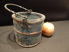 Primitive Antique Style Colonial Wood Berry Bucket w Iron Handle old Blue Paint