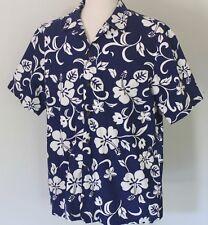 Men's XL RJC Navy Hibiscus Cotton Aloha Hawaiian Shirt