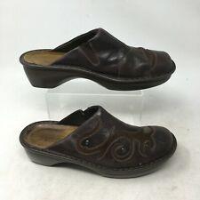 Naot Slip On Clog Mules Comfort Shoes Embossed Floral Leather Brown Womens 10