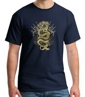 Gold Dragon Adult's T-shirt Asian Tradition Tee for Men - 1238C