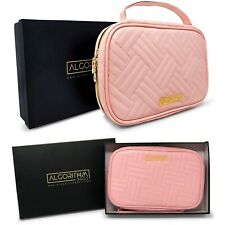 Travel Jewelry Organizer Pink Leather Case Zip Bag Roll Pouch Necklace Earrings