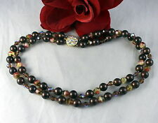 Vintage 2 STrand Beaded  Rhinestone Clasp  Necklace CAT RESCUE