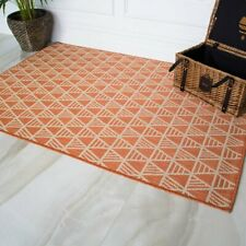 Geometric Terracotta Washable Light Flatweave Porch Rug Outdoor and Indoor Use