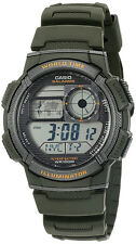 Casio Men's World Time 100m 10-Yr Batería Vida Verde Resina Reloj AE1000W-3AV