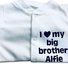 I LOVE MY BIG Brother - Sister Personalised Baby grow - Sleepsuit