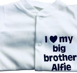 I LOVE MY BIG Brother - Sister Personalised Baby grow - Sleepsuit