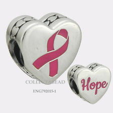 Authentic Pandora Sterling Silver Pink Enamel Hope Ribbon Bead ENG792015_1