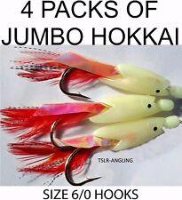 4 x PACKS LUMI JUMBO TRIPLE HOKKAI RIGS - SEA FISHING TACKLE COD POLLOCK ETC
