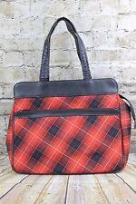 Vintage 1970s Super Sexy Tartan Granny Shopper Black Faux Leather Trim