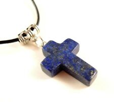 Lapis Luzuli Natural Gemstone Cross Pendant & Adjustable Leather Necklace #597