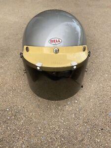 Vintage Bell Magnum II Snell 1975 7 1/2  Silver Motorcycle Helmet + Visor