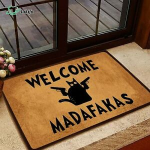 Welcome Madafakas Black Cat Doormat, Funny Welcome Family Mat, New House Gift