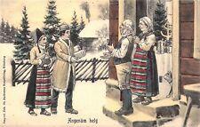 c.'06, Christmas Scene, Welcoming Family, Cat in the Doorway, Old Postcard