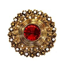 Edwardian Antique Golden Metallic Floral Circlet Round Red Crystal Stone Brooch
