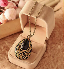 GUT Women Gold Plated Long Chain Pendant Bib Crystal Vintage Statement Necklace