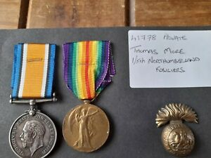 Ww1 medals pair Northumberland fusiliers