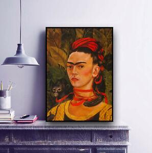 Frida Kahlo Painting Print / Self Portrait with Monkey 1940 / Fine Art, Decor