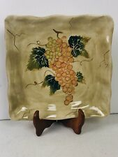 "Tabletops Gallery Cabernet Square Hand Painted Dinner 11"" Serving Plate Nwt"