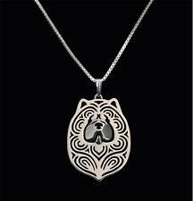 Halskette mit Hunde Kopf Anhänger. Chow-Chow. Silber überzogen