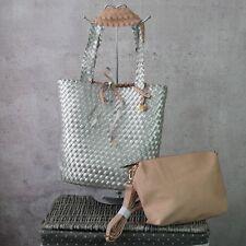 ♥ Flechttasche Wendetasche 2 in1 Tasche geflochten Silber Metallic + Rosa *140