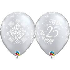 Party Supplies Silver 25th Wedding Anniversary Damask 28cm Balloons PK 10