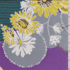 Purple/Yellow Floral Silk Charmeuse, Fabric By The Yard