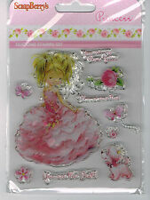 PRINCESS RUBBER STAMP SET INC PUPPY DOG, BLOSSOMS, BUTTERFLIES & SENTIMENTS