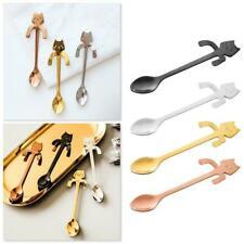 Stainless Steel Cat Coffee Drink Mixing Spoon Tableware Cute Teaspoon I2B8