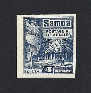 Samoa 1921 Flag & Samoan Hose 4d colour trial in indigo