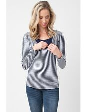 Ripe Maternity Penny Nursing Top Long Sleeve Navy/White Stripes - L - (US -10 )