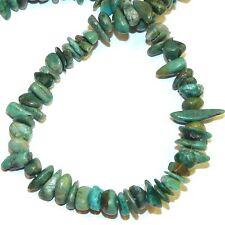 "T1916fb Blue-Green Turquoise w Matrix Small 6mm - 12mm Gemstone Chip Beads 15"""