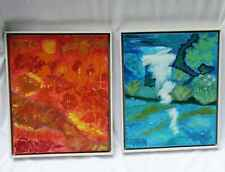 "Pair 2 MCM Abstract Oil Paintings on Canvas Larson Juhl Frames 17"" by 21"""