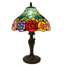 Tiffany Style Rose Table Lamp Light Stained Glass Shade Vintage Fixture Chain