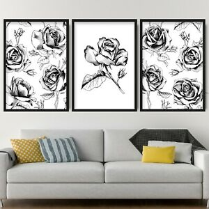 Set of 3 Black & Grey Floral Abstract Rose Flower Wall Art Print Picture Poster