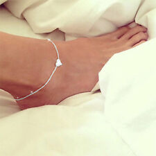 Peach Anklet 1pc Love Heart Ankle Bracelet Layer Chain Foot Silver