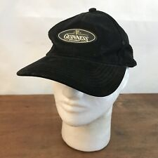 Distressed Guinness Draught Black Suede Leather Strapback Baseball Cap Hat CH31