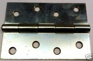 """Butt Hinges 4"""" ( 100mm ) Steel Zinc Plated 1 Pair"""