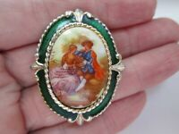 Vintage Signed Exquisite Gold Enamel Fragonard Style Love Romantic Brooch Pin