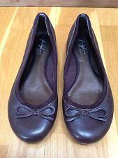 Footglove Wide Fit Size 6.5 (39.5) Brown Leather Ballerina Pumps Low Heel