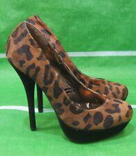 "NEW LADIES Womens Cheetah Print 5.5""High Heel 1.5"" Platform Sexy Shoes Size 8"