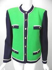 ST JOHN COLLECTION Kelly Green/Navy/White Santana Knit Gold Button Jacket sz 10