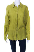 Eileen Fisher Womens Long Sleeve Collared Button Down Tunic Top Lime Green XS