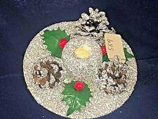 Vintage Christmas Cardboard Silver Glitter Candle Holder w/ Pine Cones Austria