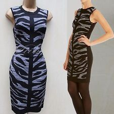 Karen Millen Jacquard Zebra Print Knit Party Cocktail Bodycon Dress KM-2 UK-10