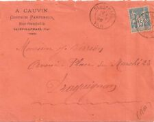 LETTRE COVER,LSC;VAR St RAPHAEL 1/11/1896,Yv 90,enveloppe orange,Draguignan 1/11
